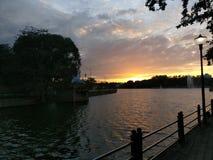 Coucher du soleil de réservoir de Sankey Photographie stock