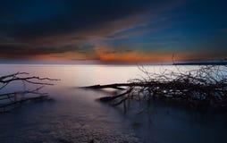 coucher du soleil de raie léger Photos libres de droits