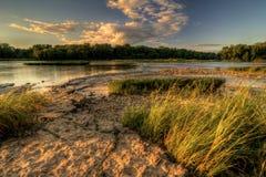 Coucher du soleil de rapide de rivière Photographie stock libre de droits