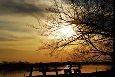 Coucher du soleil de rivière Ohio photos libres de droits