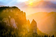 Coucher du soleil de roche photos libres de droits