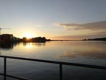 Coucher du soleil de Rostock Photos stock