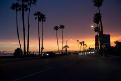 Coucher du soleil de route rayé par paume Image stock