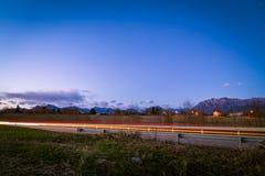 coucher du soleil de route vers images stock