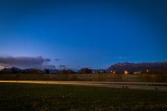 coucher du soleil de route vers photographie stock libre de droits