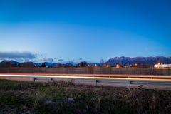 coucher du soleil de route vers photos stock