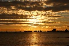 coucher du soleil de rue de kilda Photographie stock
