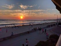 Coucher du soleil de San Diego sur la plage Pacifique Photos stock