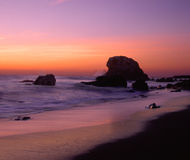 Coucher du soleil de San Simeon Images stock