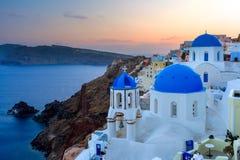 Coucher du soleil de Sanotorini Grèce Photographie stock