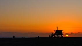 Coucher du soleil de Santa Monica Photographie stock libre de droits