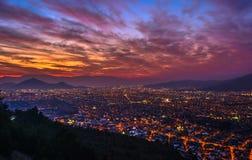 Coucher du soleil de Santiago Photographie stock libre de droits