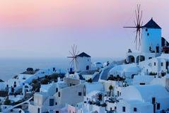 Coucher du soleil de Santorini Image libre de droits