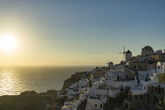 Coucher du soleil de Santorini photos libres de droits