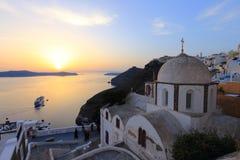 Coucher du soleil de Santorini, Grèce Photographie stock libre de droits