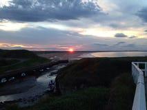 Coucher du soleil de Seaton Sluice Photo stock