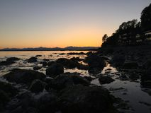 Coucher du soleil de Seattle Photo stock