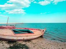 Coucher du soleil de Sidi mansour Tunisie Images stock