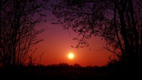 Coucher du soleil de Sihouet Photos libres de droits