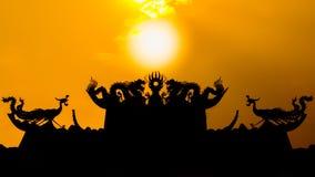 Coucher du soleil de silhouette Image stock