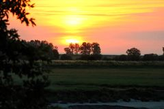 Coucher du soleil de soirée Photos stock