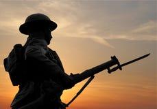 coucher du soleil de soldat Photographie stock