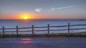 Coucher du soleil de solstice d'été chez Rhossili 2018 Images stock