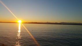Coucher du soleil de son de Puget Photos stock