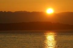 Coucher du soleil de son de Puget Photographie stock