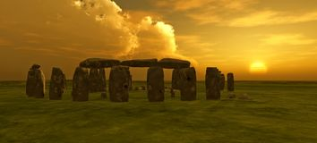 Coucher du soleil de Stonehenge Photo stock