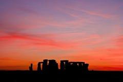 Coucher du soleil de Stonehenge Images libres de droits