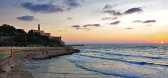 Coucher du soleil de Tel Aviv Jaffa, Israël Image stock