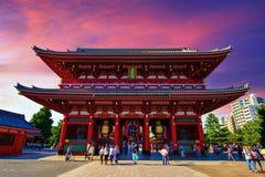 Coucher du soleil de temple de Sensoji, Tokyo, Japon Image stock