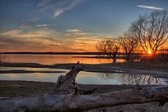 Coucher du soleil de Texoma de lac Photos libres de droits