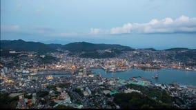 Coucher du soleil de Timelapse au-dessus de port de Nagasaki clips vidéos