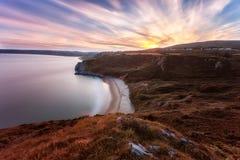 Coucher du soleil de Tor Bay photographie stock libre de droits