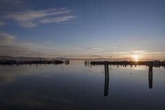 Coucher du soleil de Trasimeno de lac Photographie stock
