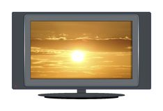 Coucher du soleil de TV Photos stock