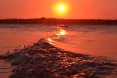 Coucher du soleil 2 de vague Image libre de droits