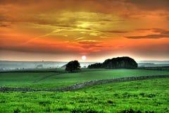 Coucher du soleil de vallée de Lathkill Images stock