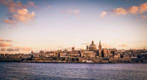 Coucher du soleil de Valleta Photos libres de droits