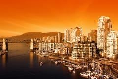 Coucher du soleil de Vancouver Photos stock