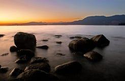 Coucher du soleil de Vancouver, Canada Image libre de droits