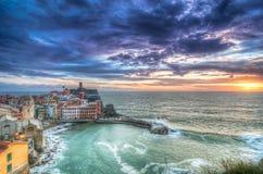 Coucher du soleil de Vernazza Photos libres de droits