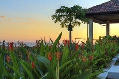 Coucher du soleil de villa de Tamarindo Image libre de droits