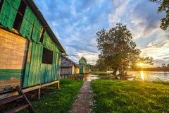 Coucher du soleil de village Photo libre de droits