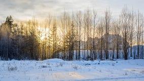 Coucher du soleil de village d'hiver Photos stock