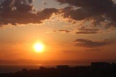 Coucher du soleil de ville Photo libre de droits