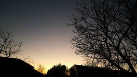 Coucher du soleil de ville d'hiver Photos libres de droits