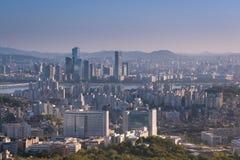 Coucher du soleil de ville de Séoul, Corée du Sud Images libres de droits